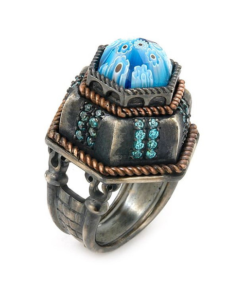 SIGNATURE COLLECTION FACETED BLUE MURANO GLASS OCTAGON RING WITH COPPER AND SIGNITY CZ ACCENTS
