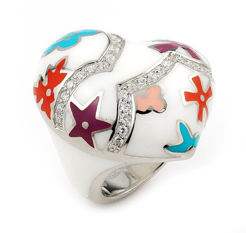 DESIGNO WHITE HEART WITH CZ AND MULTI COLOR FLOWER ACCENTS