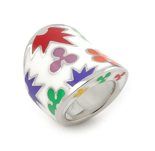 WHITE AND MULTI COLOR DESIGNO WIDE RING