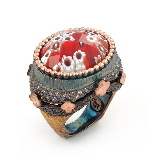 SIGNATURE COLLECTION FACETED RED MURANO GLASS OVAL RING WITH COPPER AND SIGNITY CZ ACCENTS