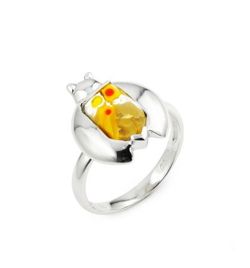MURANO MILLEFIORI YELLOW FACETED LADYBUG RING