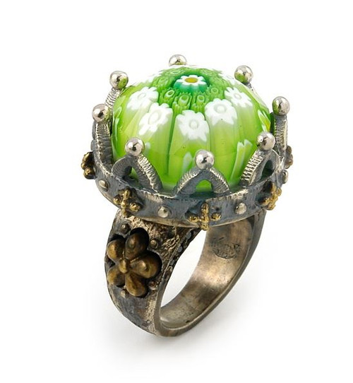 SIGNATURE COLLECTION FACETED GREEN MURANO GLASS ROUND RING CROWN SHAPE WITH COPPER AND SIGNITY CZ ACCENTS
