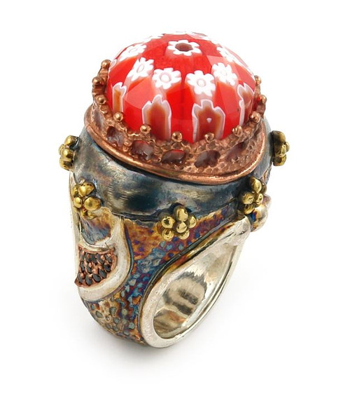 SIGNATURE COLLECTION FACETED RED MURANO GLASS ROUND RING WITH COPPER AND SIGNITY CZ ACCENTS