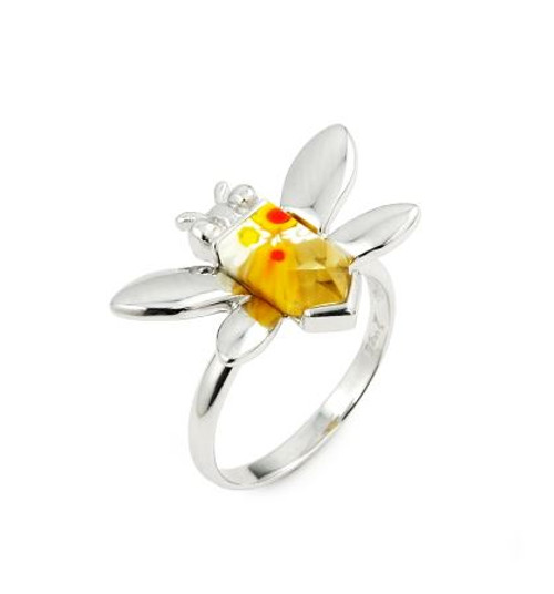 MURANO MILLEFIORI YELLOW FACETED BEE RING