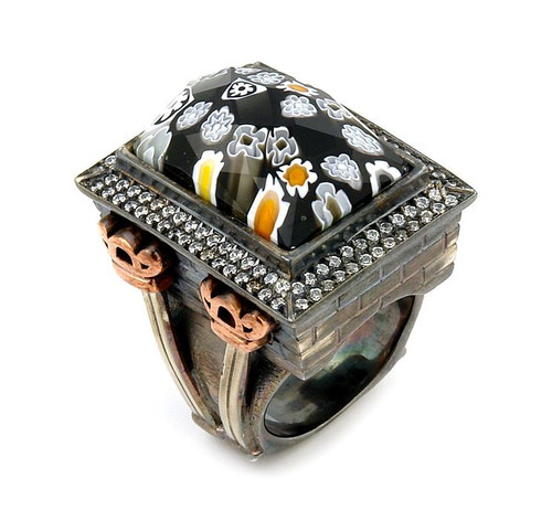 SIGNATURE COLLECTION FACETED BLK/WHT MURANO GLASS RECTANGLE RING W/ COPPER AND SIGNITY CZ ACCENTS