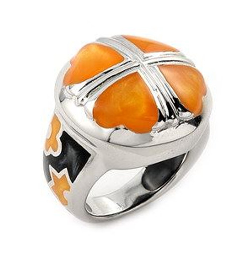 LARGE CARAMEL AND BLACK DESIGNO 4 HEART RING