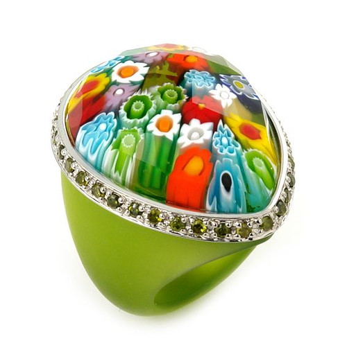 MURANO GRAND COLLECTION FACETED MULTI COLOR AND GREEN PEAR SHAPE GLASS DOME RING WITH GREEN CZS