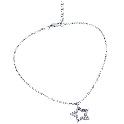 "RHODIUM PLATED CZ STAR ANKLET 9"" + 1"""