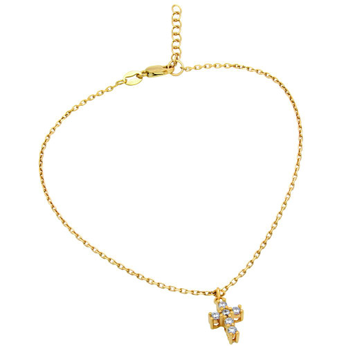 """GOLD PLATED SMALL CZ CROSS ANKLET 9"""" + 1"""""""