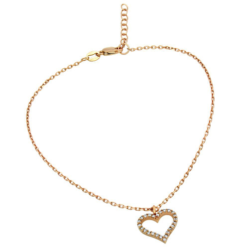 "ROSE GOLD PLATED CZ HEART ANKLET 9"" + 1"""