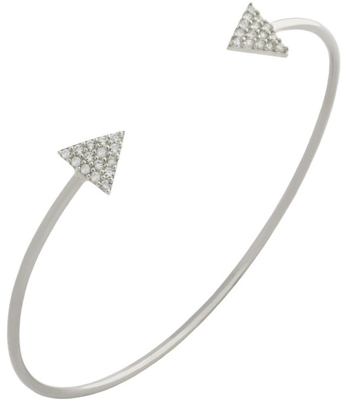 RHODIUM PLATED WIRE BANGLE WITH CZ TRANGLES