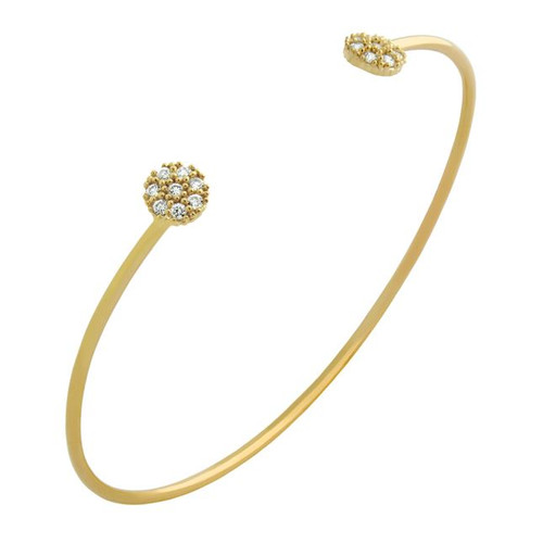 GOLD PLATED WIRE BANGLE WITH SMALL CZ DISKS