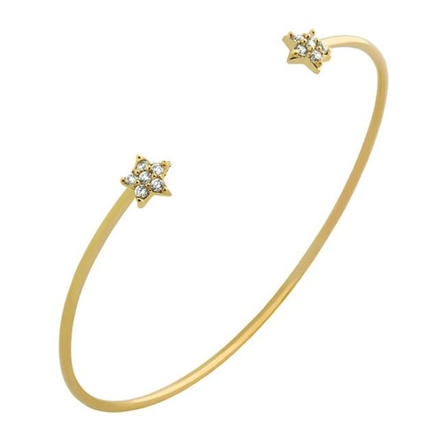 GOLD PLATED WIRE BANGLE WITH CZ STARS