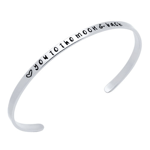 "STERLING SILVER ""♥ YOU TO THE MOON & BACK"" BANGLE"
