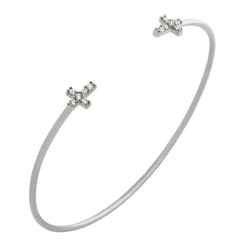 RHODIUM PLATED WIRE BANGLE WITH CZ CROSSES