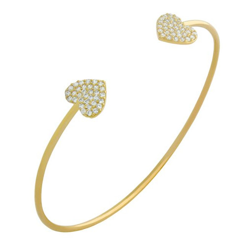 GOLD PLATED CZ DOUBLE HEART BANGLE