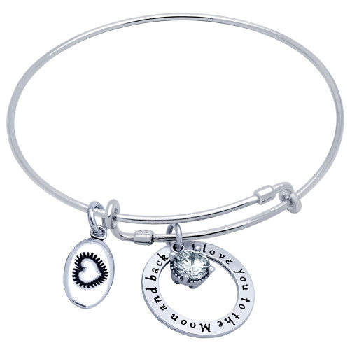 """STERLING SILVER EXPANDABLE BANGLE WITH HEART, """"I LOVE YOU"""", AND 6.5MM CZ CHARMS"""