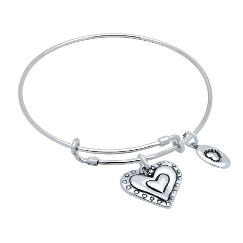 """STERLING SILVER EXPANDABLE BANGLE WITH HEART AND """"LOVE"""" CHARMS"""