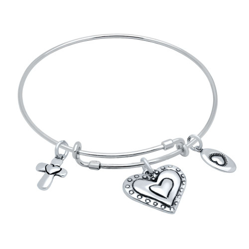 """STERLING SILVER EXPANDABLE BANGLE WITH HEART, CROSS, AND """"LOVE"""" CHARMS"""