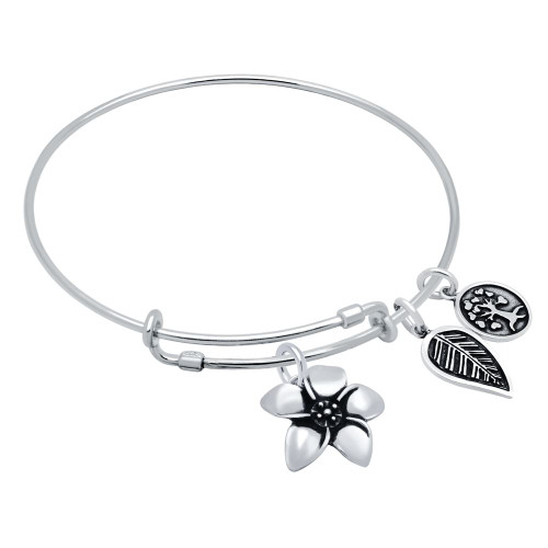 STERLING SILVER EXPANDABLE BANGLE WITH TREE, LEAF, AND FLOWER CHARMS