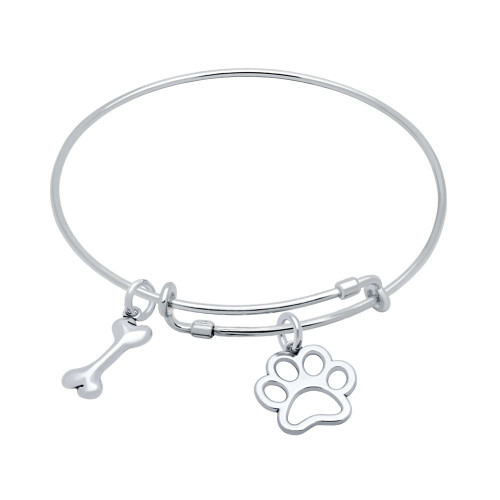 STERLING SILVER EXPANDABLE BANGLE WITH DOG BONE AND PAW PRINT CHARMS