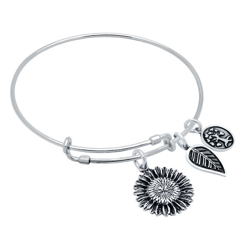 STERLING SILVER EXPANDABLE BANGLE WITH LEAF, SUNFLOWER CHARMS, AND TREE CHARMS