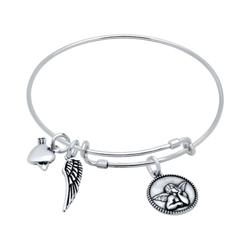 STERLING SILVER EXPANDABLE BANGLE WITH WING, HEART/ARROW, AND CHERUB CHARMS