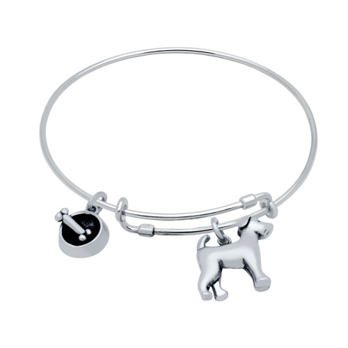 STERLING SILVER EXPANDABLE DOG & BOWL CHARM BANGLE