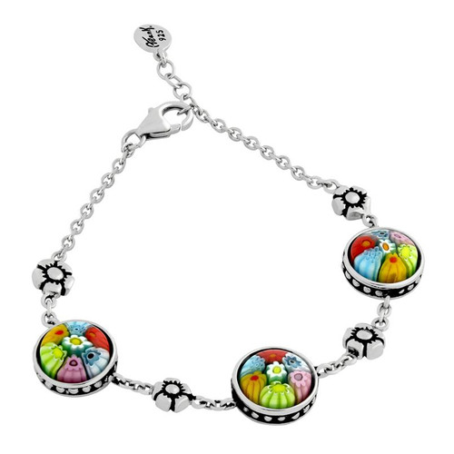"MULTICOLOR MURANO MILLEFIORI ROUND BRACELET WITH SMALL SILVER FLOWERS 7"" + 1/2"""