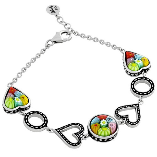 "MULTICOLOR MURANO MILLEFIORI ROUND AND HEART BRACELET 7"" + 1/2"""