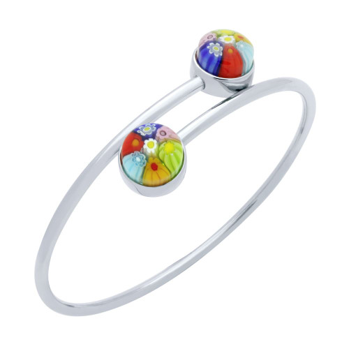 MULTICOLOR MURANO MILLEFIORI CABOCHON ROUNDS BANGLE 7""