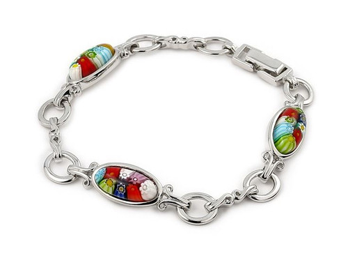 MULTI COLOR MILLEFIORI 3 OVAL BRACELET