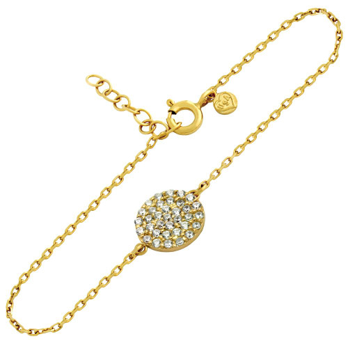 "GOLD PLATED SMALL CZ PAVE DISK BRACELET 6.5"" + 1"""