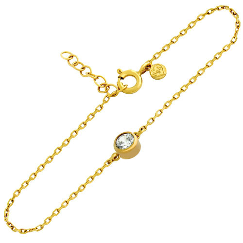 "GOLD PLATED 5MM CZ BRACELET 6.5"" + 1"""