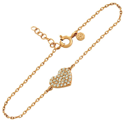 "ROSE GOLD PLATED CZ PAVE HEART BRACELET 6.5"" + 1"""