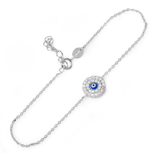 "RHODIUM PLATED 9MM ROUND CZ BRACELET WITH DARK BLUE EYE 6""+1"""