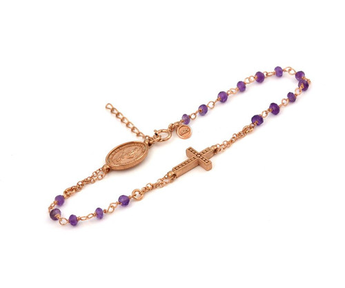 "ROSE GOLD PLATED STERLING SILVER AMETHYST ROSARY BRACELET 7"" + 1"""