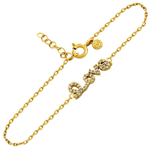 "GOLD PLATED CZ LOVE BRACELET 6.5"" + 1"""
