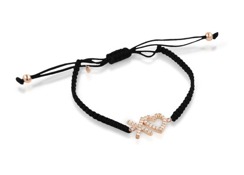 ROSE GOLD PLATED XO♥ HEART CZ ADJUSTABLE CORD BRACELET