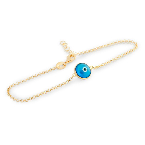 "GOLD PLATED SINGLE BLUE 10MM EYE BRACELET 7"" + 1"""