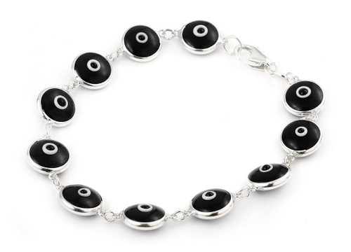 10MM BLACK GLASS EYE BRACELET 7""