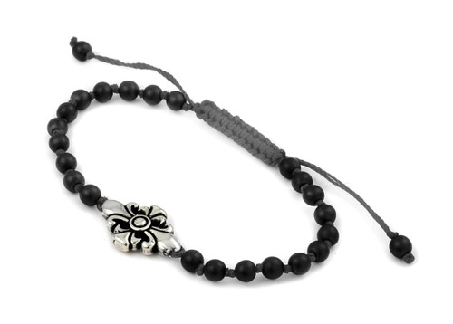 TWISTED BLADE FLEUR DE LIS AND 4MM AGATE ADJUSTABLE BRACELET