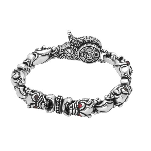 TWISTED BLADE SILVER DOG-LINK BRACELET