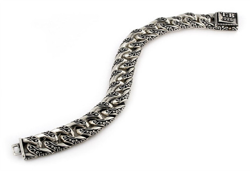 TWISTED BLADE SILVER DECORATED CURB LINK BRACELET