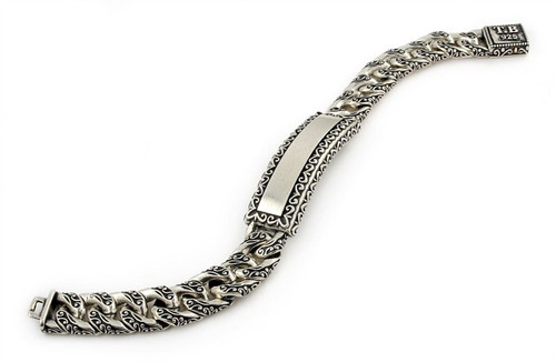 TWISTED BLADE SILVER DECORATED CURB LINK ID BRACELET