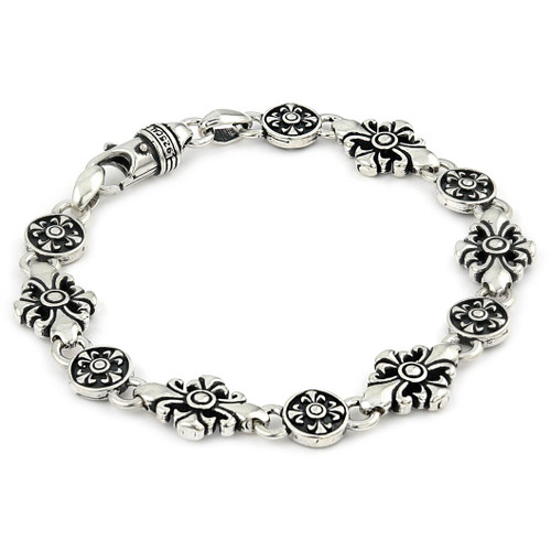 TWISTED BLADE LARGE FLEUR DE LIS CROSS LINK BRACELET