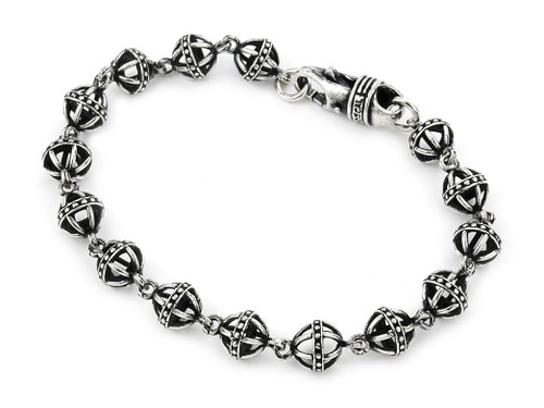 TWISTED BLADE SILVER LARGE 8MM STUDDED BALL LINK BRACELET