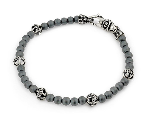 TWISTED BLADE BRACELET WITH MATTE HEMATITE AND BALL LINK BEADS