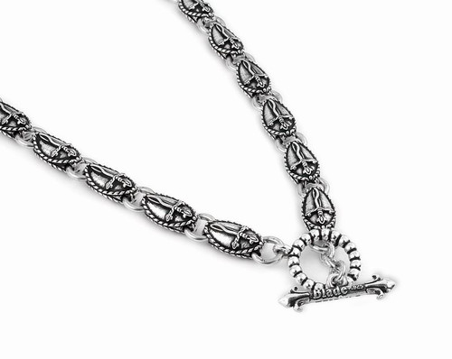 TWISTED BLADE SILVER 9MM MEDIUM OVAL DAGGER LINK NECKLACE