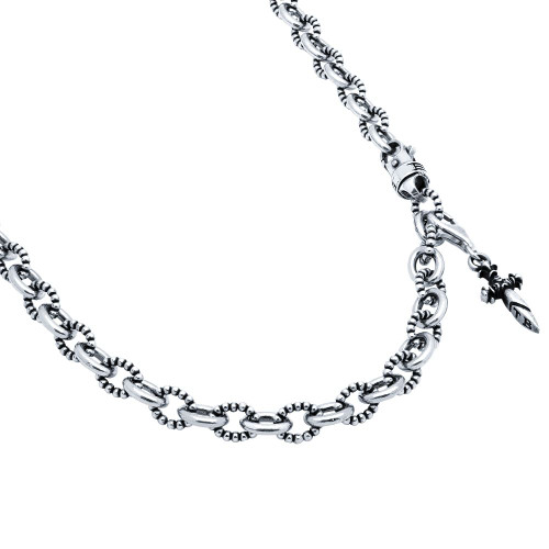TWISTED BLADE SILVER BEADED NECKLACE WITH DANGLING DAGGER CHARM